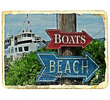 Boats and Beach No. 1 nautical art beach themed bathroom art Photographic Print