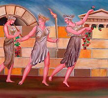 Classical Greek Ladies Walking  by etcgallery