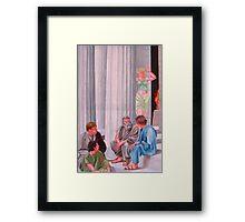Classical Greek Men and Women Scene Framed Print
