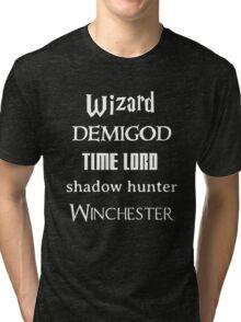 Fandoms: Wizard, Demigod, Time Lord, Shadow Hunter, Winchester Tri-blend T-Shirt