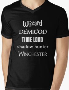 Fandoms: Wizard, Demigod, Time Lord, Shadow Hunter, Winchester Mens V-Neck T-Shirt