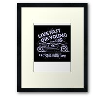 Hot Rod Live Fast Die Young - Purple (alpha bkground) Framed Print