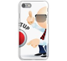 Simplified man with pointing fingers and startup button.  iPhone Case/Skin