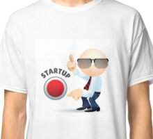 Simplified man with pointing fingers and startup button.  Classic T-Shirt