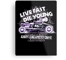 Hot Rod Live Fast Die Young - White & Pink Neon (alpha bkground) Metal Print