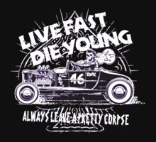 Hot Rod Live Fast Die Young - White & Pink Neon (alpha bkground) by AbsinthTears