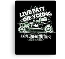 Hot Rod Live Fast Die Young - White & Green Neon (alpha bkground) Canvas Print