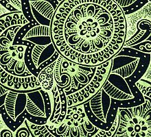 Gorgeous Mandala Damask Art in Neon Green and Black Ink Illustration on Watercolor Paper by rozine