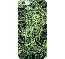 Gorgeous Mandala Damask Art in Neon Green and Black Ink Illustration on Watercolor Paper iPhone Case/Skin
