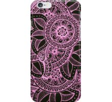 Gorgeous Mandala Damask Art in Hot Pink and Black Ink Illustration on Watercolor Paper iPhone Case/Skin