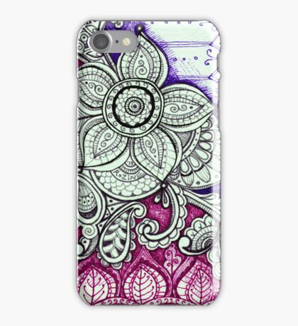 Gorgeous Mandala Damask Art in Black and White Ink Illustration on Watercolor Paper iPhone Case/Skin