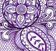 Gorgeous Mandala Damask Art Purple and White Ink Illustration on Watercolor Paper by rozine