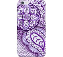 Gorgeous Mandala Damask Art Purple and White Ink Illustration on Watercolor Paper iPhone Case/Skin