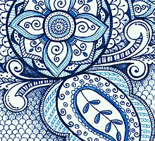 Gorgeous Mandala Damask Art Turquoise Blue Ink Illustration on Watercolor Paper by rozine