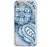 Gorgeous Mandala Damask Art Turquoise Blue Ink Illustration on Watercolor Paper iPhone Case/Skin