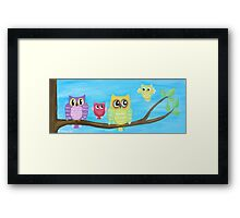 Owl Family on tree II Framed Print