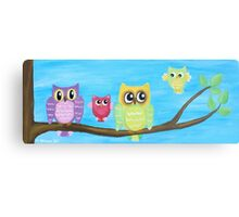 Owl Family on tree II Canvas Print