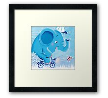 Cycling - Rondy the Elephant on his bike Framed Print