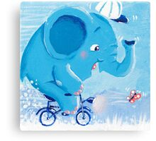 Cycling - Rondy the Elephant on his bike Canvas Print