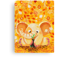 Gardening - Rondy the Elephant growing a plant Canvas Print