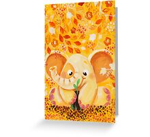 Gardening - Rondy the Elephant growing a plant Greeting Card