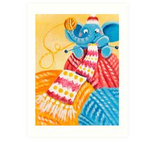 Knitting - Rondy the Elepnaht making the longest scarf ever! Art Print