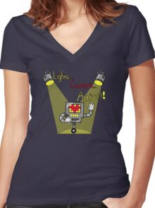Undertale - Mettaton, Lights Camera Action! Women's Fitted V-Neck T-Shirt