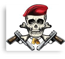 Skull in the beret Canvas Print