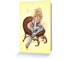 Sexy Lingerie Girl 2 - Blond by Al Rio Greeting Card
