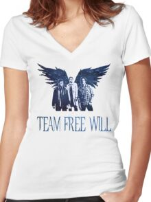 Team Free Will in BLUE Women's Fitted V-Neck T-Shirt