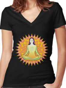 Young woman practicing meditation 1 Women's Fitted V-Neck T-Shirt