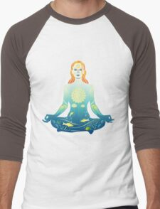 Young woman practicing meditation 2 Men's Baseball ¾ T-Shirt