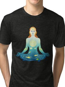 Young woman practicing meditation 2 Tri-blend T-Shirt