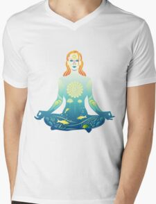 Young woman practicing meditation 2 Mens V-Neck T-Shirt