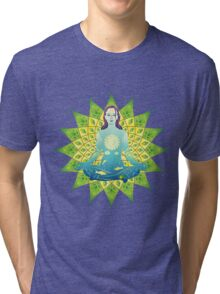 Young woman practicing meditation 4 Tri-blend T-Shirt