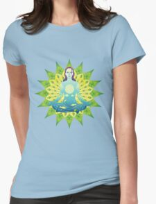 Young woman practicing meditation 4 Womens Fitted T-Shirt