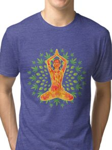 Young woman practicing meditation 8 Tri-blend T-Shirt