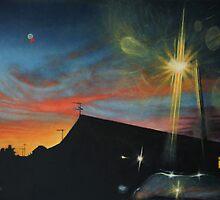 Suburban Sunset Oil on Canvas by daverives