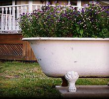 Bathtub Flowers No.2 clawfoot antique bathtub filled with wildflowers by jemvistaprint