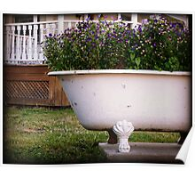 Bathtub Flowers No.2 clawfoot antique bathtub filled with wildflowers Poster