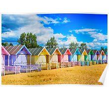 Pastel Beach Huts Poster