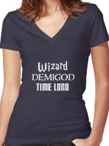 Fandoms: Wizard, Demigod, Time Lord Women's Fitted V-Neck T-Shirt
