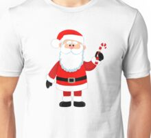 Happy Santa Claus with candy. Unisex T-Shirt