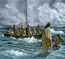 Christ walking on the Sea of Galilee by Bridgeman Art Library