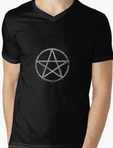 White Pentagram Mens V-Neck T-Shirt