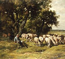 A shepherd and his flock by Bridgeman Art Library
