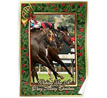 Thoroughbred Racehorse Christmas Card Poster