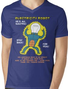Electricity Robot -- he's all electric -- color Mens V-Neck T-Shirt
