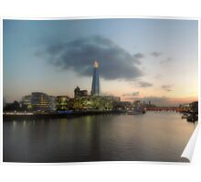 Sunset over The River Thames Poster