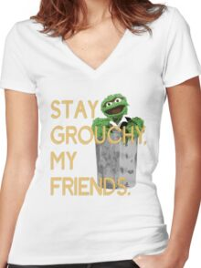 Stay Grouchy Women's Fitted V-Neck T-Shirt